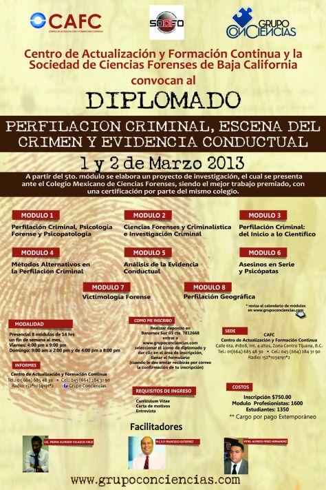 DIPLOMADO EN PERFILACIÓN CRIMINAL, ESCENA DEL CRIMEN Y ANÁLISIS DE LA EVIDENCIA CONDUCTUAL